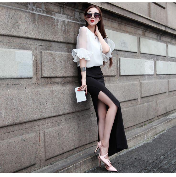 2015夏季新款高腰开叉裙性感包臀裙欧美女弹力半身裙显瘦长裙包裙-淘宝网