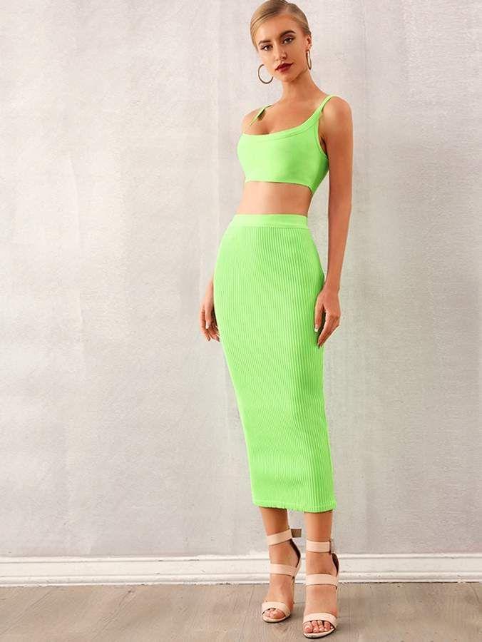 Shein Adyce Neon Green Rib-knit Crop Top & Pencil Skirt Set 2