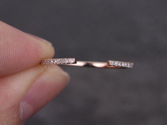 Ewigkeit Hochzeit Vorband massiv 14K rose Gold Diamant
