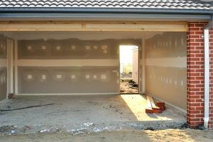 Building a new garage with a concrete floor.