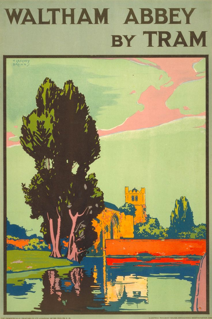 Vintage Train Travel Poster by Gregory Brown: Waltham Abbey, England