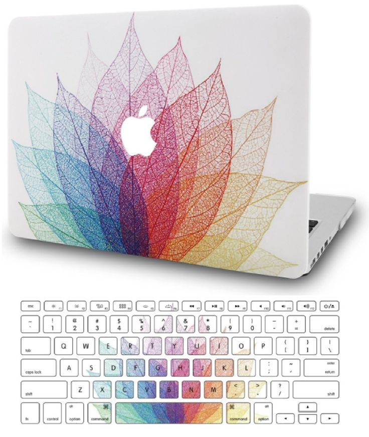 Macbook Case with US/CA Keyboard Cover' Package | Oil Painting Collection – Leaf – Colorful 2