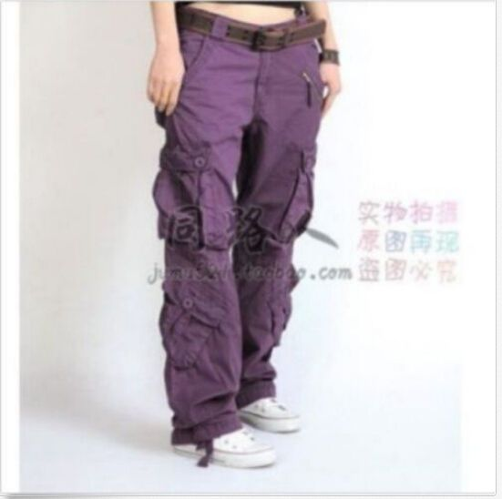 20115 Womens Dance Pocket Long Loose Cotton Casual Combat Pants Workwear Trouser #other #Cargo