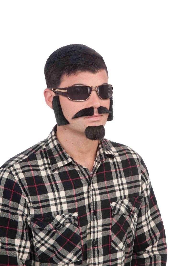 Black Facial Hair Costume Kit With Sideburns, Mustache, And Goatee