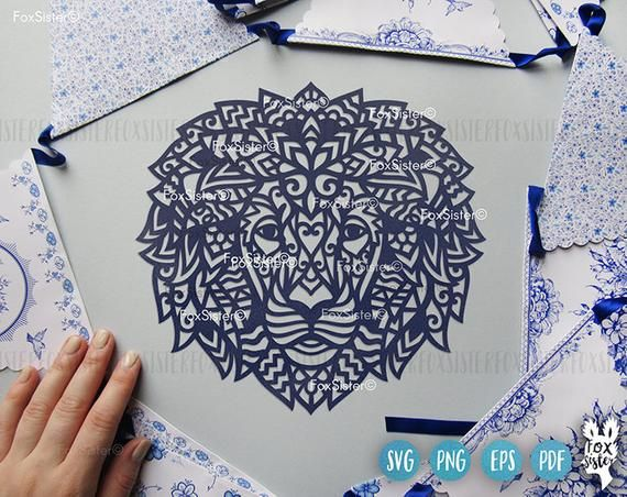 Mandala Lion head Svg vector cut file template, Africa Svg