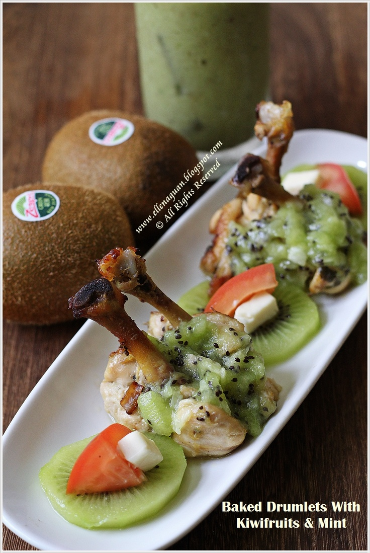 Baked Drumlets With Kiwifruit And Mint