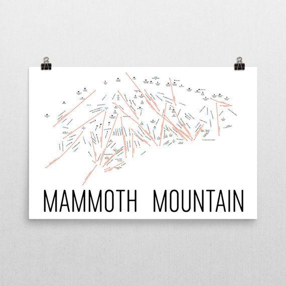 Mammoth Mountain Ski Map Art, Mammoth CA, Mammoth Mountain Trail Map, Mammoth Mountain Ski Resort Print, Mammoth Mountain Poster, Art, Gift