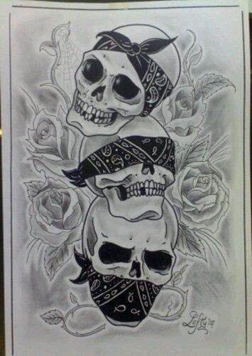 See no evil, Hear no evil, Speak no evil skull tattoo design (22)