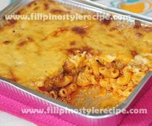 Baked macaroni is one of the popular pasta dish that is commonly serve in any occasions. This dish is consists of macaroni pasta mixed together with meat sauce then topped with creamy white cheese. Baked until the topped cheese starts to light brown.