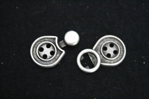 Clasp - Closures two piece interlocking -Antique Pewter  color - Antique Silver finnish - Lot of 5