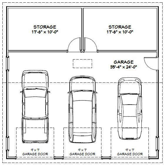7 best garage dimensions images on pinterest parking lot for Average width of two car garage