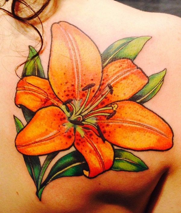 Realistic tige lily on back - 55+ Awesome Lily Tattoo Designs  <3 <3