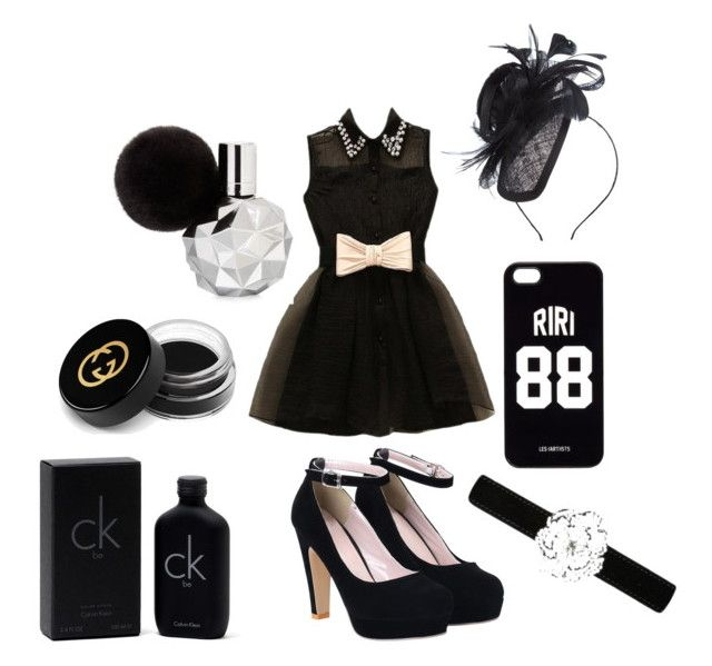 """Outfit negro"" by turbopeka on Polyvore featuring moda, Gucci, Calvin Klein, LES (ART)ISTS, Suzanne Bettley y Giuseppe Zanotti"