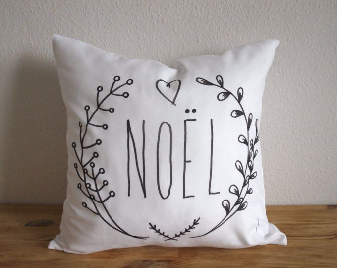 Noel Pillow - Free Shipping - NOEL Decorative Christmas Throw Pillow Cover - Color Me Fabric - Noel Pillow  - Cushion - Pillow Case