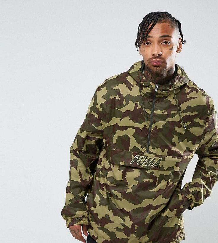 Puma Pullover Windbreaker In Camo Print In Green Exclusive to ASOS 576