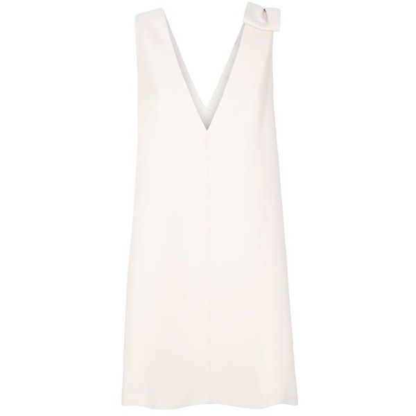 Valentino V-Neck Bow Shoulder Shift Dress ($1,820) ❤ liked on Polyvore featuring dresses, short dresses, tops, vestidos, white bow dress, mini dress, v neck cocktail dress, valentino dresses and white shift dress