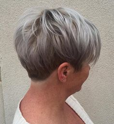 Short Ash Blonde And Silver Hairstyle For Women Over 40