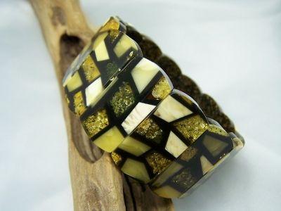 Mozaik amber bracelet - amber bangle.