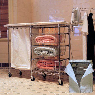 Space Saving Laundry Center Equipped With A Full Size Fold Away Ironing  Board, A Fold Out Iron Rest, A Slide Out Laundry Hamper, An Adjustable  Clothes Rack, ...