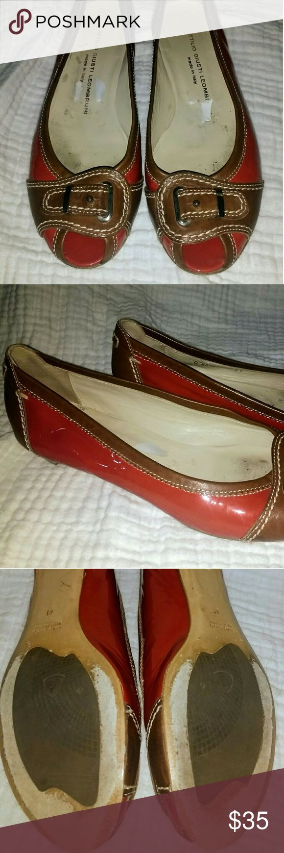 Attilio Giusto Leombruni peep toe flats Attilio Giusto Leombruni Italian made red parent leather and light brown peep toe flats with buckle and cream stitching. Very good used condition Attilio Giusto Leombruni Shoes Flats & Loafers