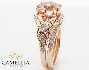 Morganita floral anillo de compromiso diamante anillo de bodas nupcial conjunto en 14k oro anillo de compromiso personalizado