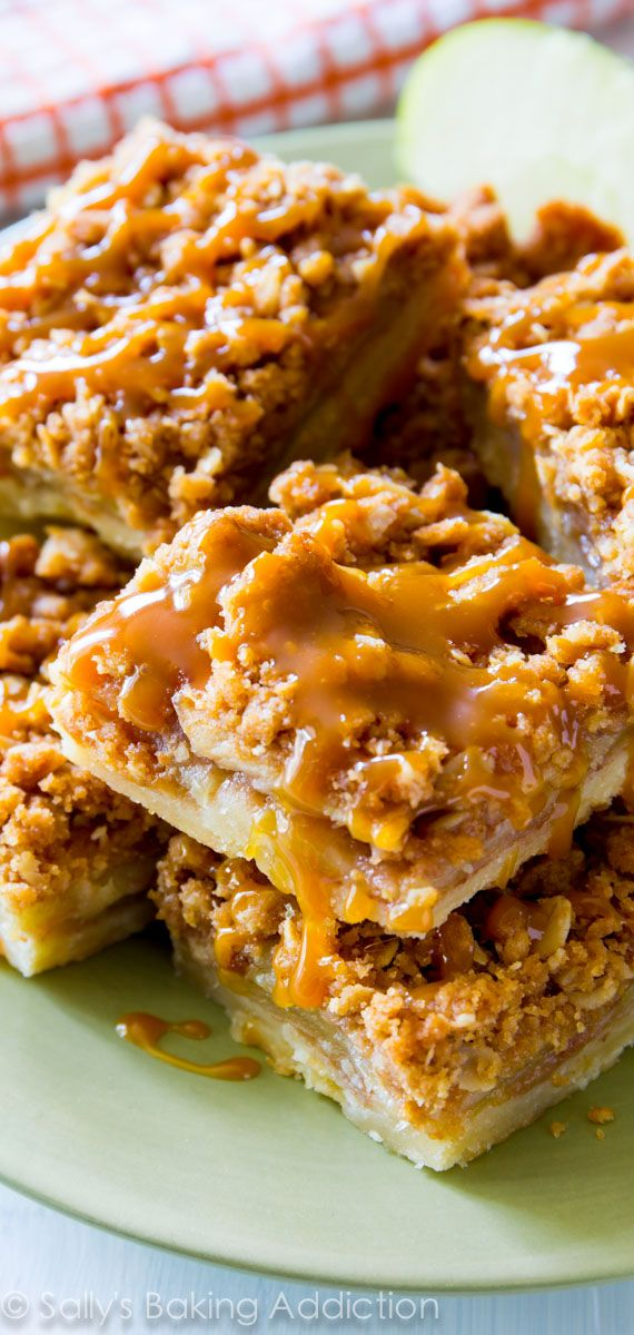 Apple pie baked into bars - so much easier and topped with salted caramel sauce!