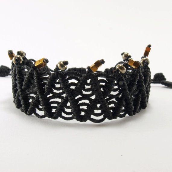 Macramé bracelet with hematite and pyrite by HippieChicJewelryAth