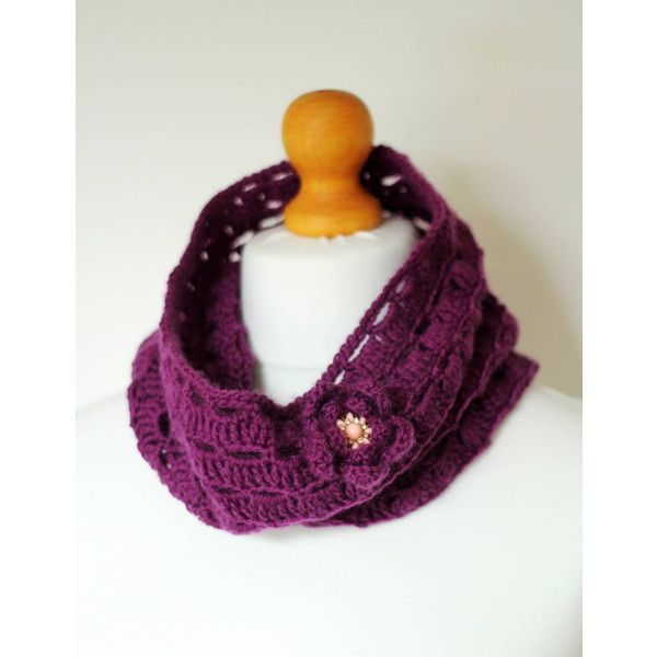 Purple cowl scarf Lace Crochet Scarf with Brooch Wool Infinity scarf... ($35) ❤ liked on Polyvore featuring accessories, scarves, lace shawl, tube scarf, crochet infinity scarves, circle scarf and tube scarves