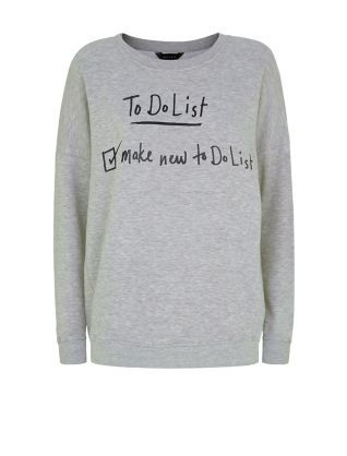 Grey To Do List Sweater | New Look
