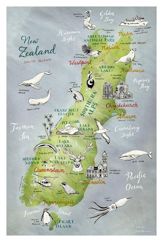 Central Otago Südinsel Postkarte Neuseeland