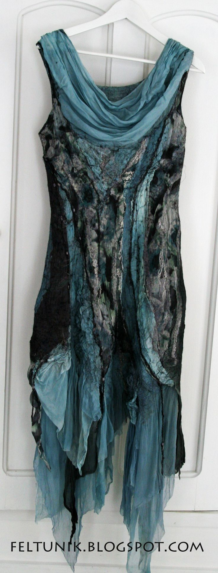 black and dusty teal tunic -ethereal layers of lightweight fabrics - could use old scarves