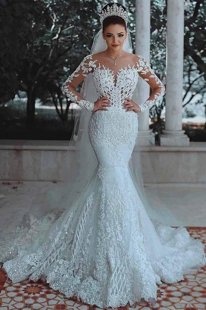 Exclusive Mermaid Wedding Dress Ideas For Your Unforgettable Look Long Sleeve Mermaid Wedding Dress Bridal Gowns Mermaid Lace Mermaid Wedding Dress