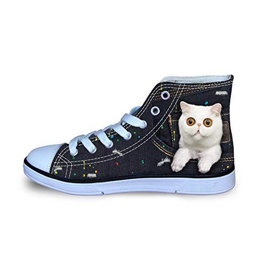 bee5ca8d668b8 Coloranimal Kawaii Pet Cat Teenager Girl Boys Lace up Flats Sneakers ...