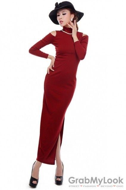 GrabMyLook Cutout Shoulder Turtleneck Long Sleeves Side Slit Bodycon Long Dress