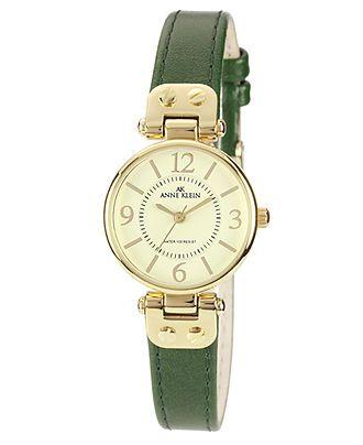 Anne Klein Watch, Women's Green Leather Strap 26mm 10-9442IVGN - Women's Watches - Jewelry & Watches - Macy's // $55.00