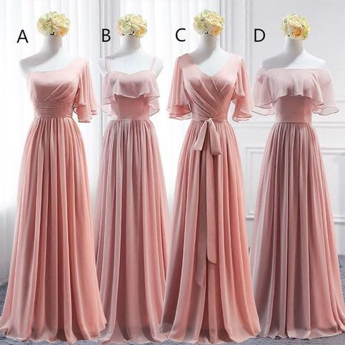 Pink Simple Chiffon A-line Bridesmaid Dress 2018, Party Dress, Pink Party Dresses,810