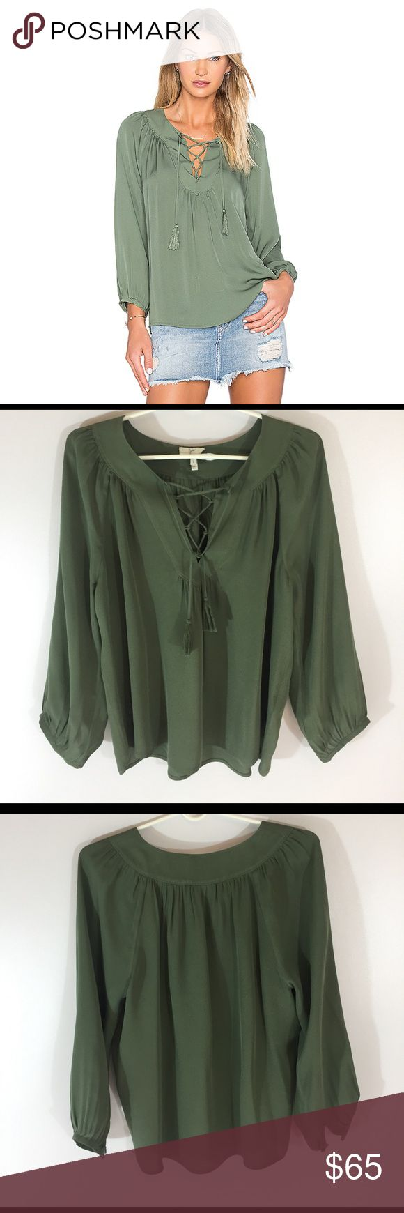 Joie Pacaya Silk Blouse So cute and perfect dressed up or down! Excellent condition - like new. Color olive green. 100% silk. Size small. Dry cleaned. Joie Tops Blouses