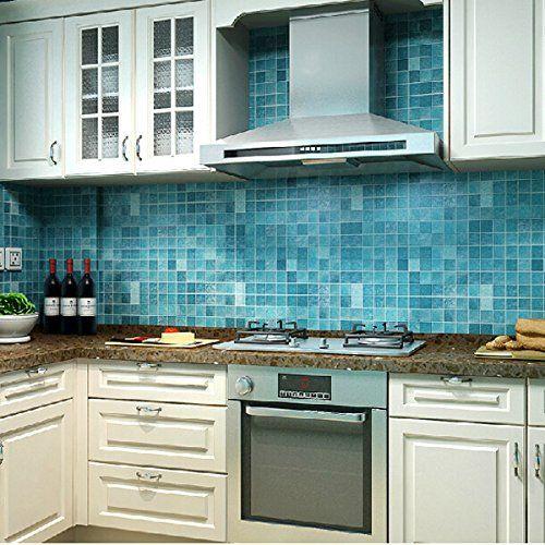 CucinaGood Cucina 45x500cm Mosaico Impermeabile Wall Sticker Autoadesivo di Alluminio anti Olio Carta da Parati verde