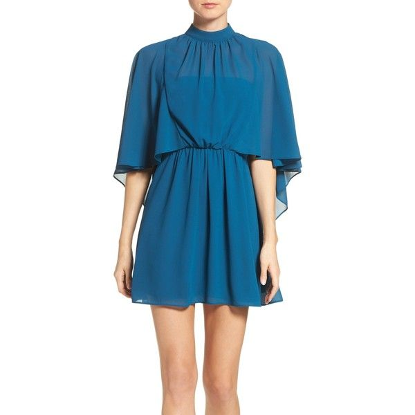 Ali & Jay Chiffon Cape Dress (8.055 RUB) ❤ liked on Polyvore featuring dresses, blue dress, zip back dress, day party dresses, night out dresses and going out dresses