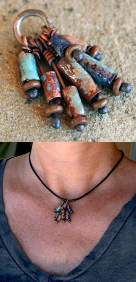 Great bullet jewelry inspiration. Love the patina and how they are all clustered together and embellished ~ you almost have to take a second look to see they are casings!