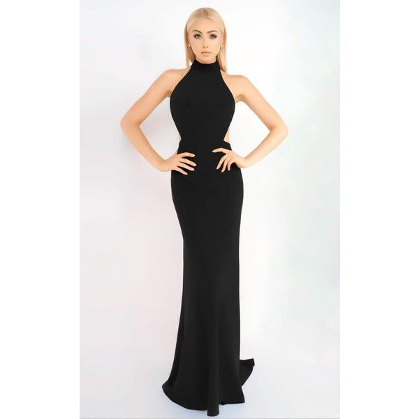 Mac Duggal 25403 Prom CutOut Dress Long High Neckline Sleeveless (4.499.795 IDR) ❤ liked on Polyvore featuring dresses, black, formal dresses, formal prom dresses, halter top, cut out prom dresses and high neck formal dresses