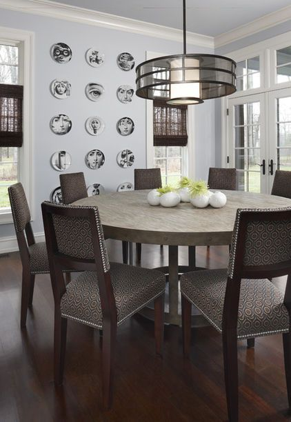 contemporary dining room by AMW Design Studio ROUND TABLE ALLOW 26 INCHES PER PERSON ; GENERALLY 4 fill fit 36 - 44 inch table; 4 -6 will fit arond  44-555 inch; 6-8 will fit around a 60-70 in table.
