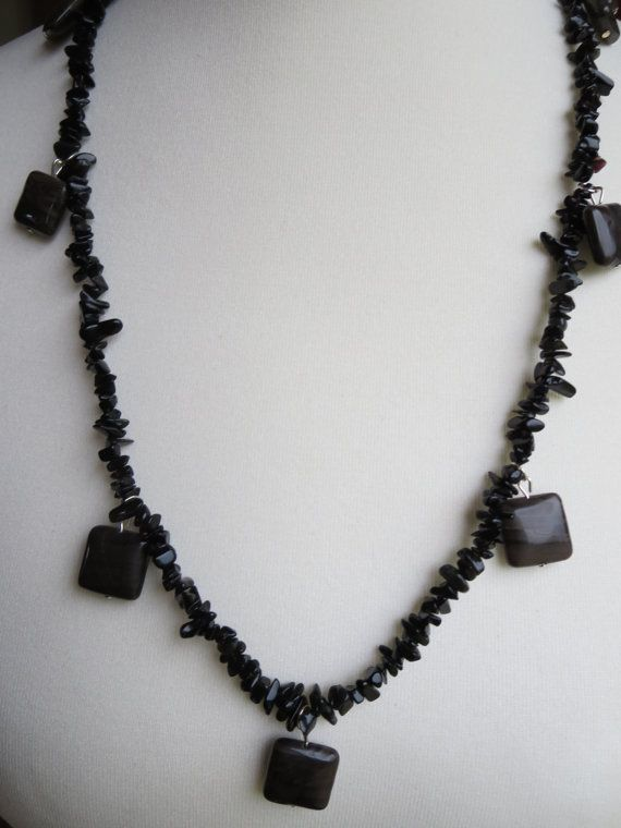 Onyx Necklace Agate Gemstone Necklace Leather by KBrownJewellery