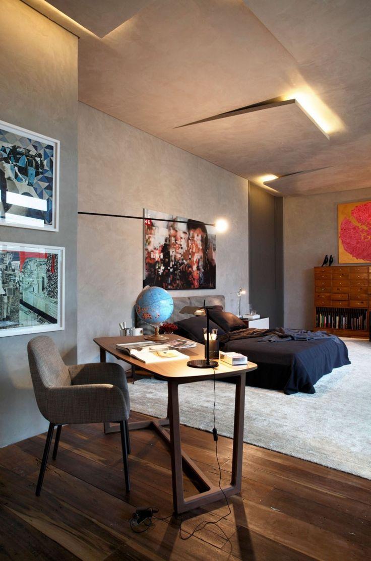 Luxe slaapkamer met muren in betonlook