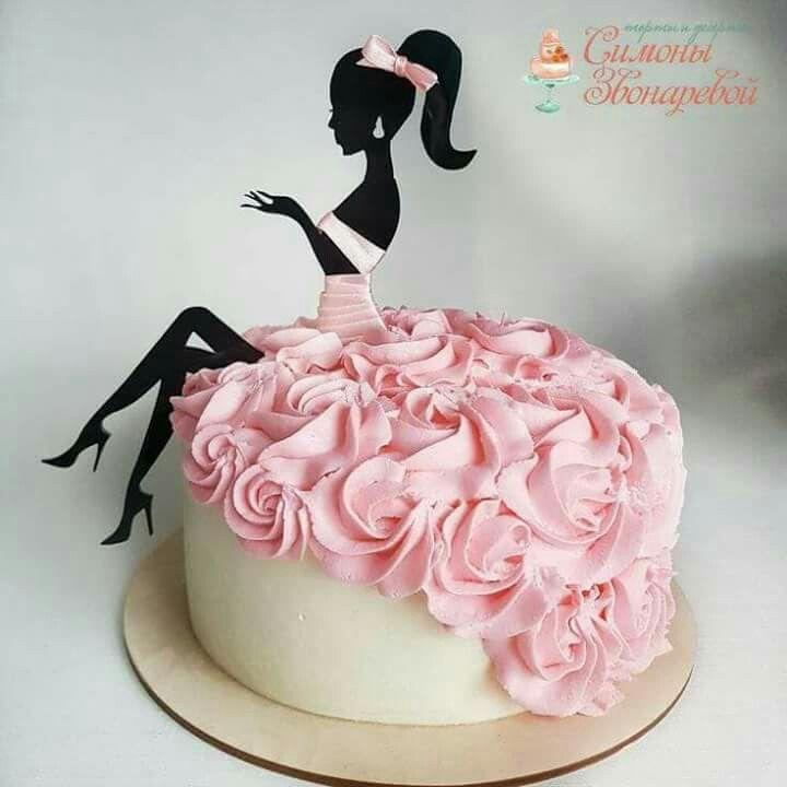 Schöne Geburtstagstorte, 2D-Mädchen sitzt auf Torte mit Buttercreme …  Schö… – Backen deko