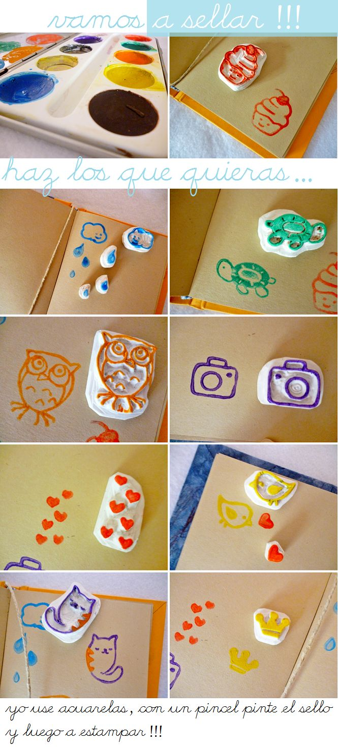 Sellos personalizados caseros con goma de borrar   -   Homemade Custom Stamps from eraser