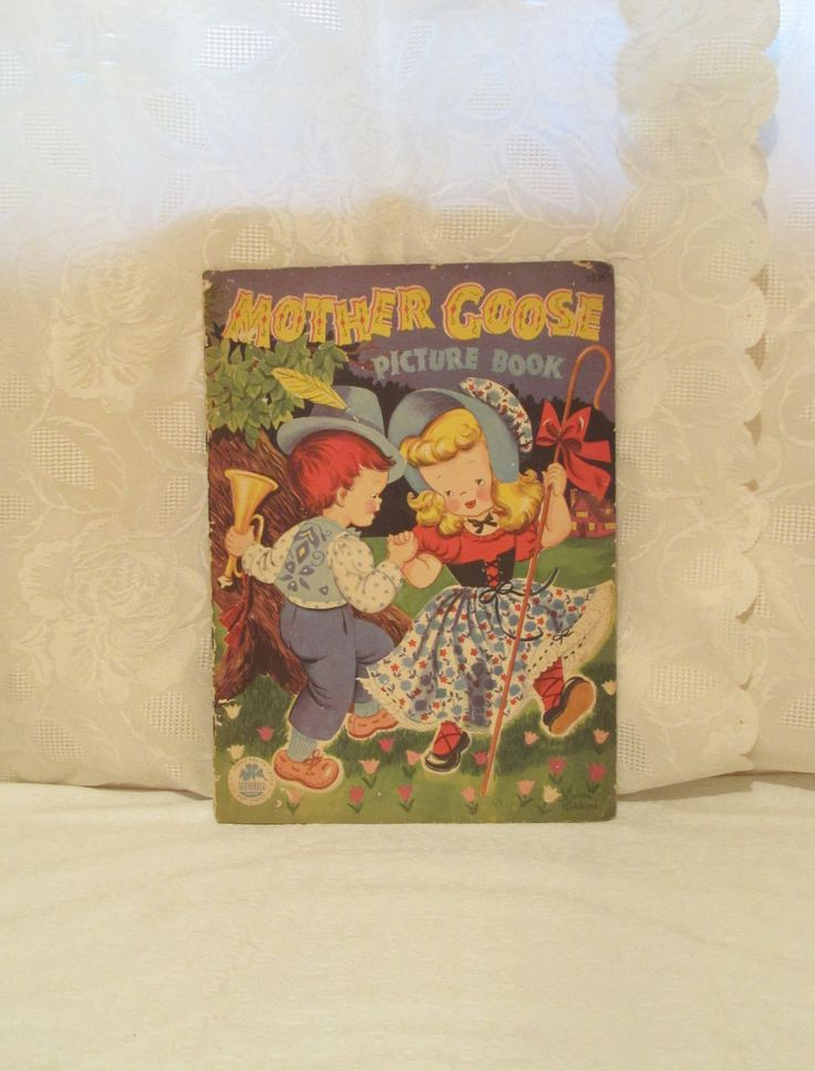 Vintage Mother Goose Picture Book, 1948 Nursery Rhyme Book, Vivian Robbins, 40's Linen Book, Merrill Children's Book, Classic Nursery Rhymes by LuckyPennyTrading on Etsy