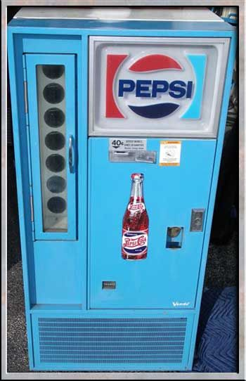 pepsi in old glass bottles   It would look something like this 60s machine: