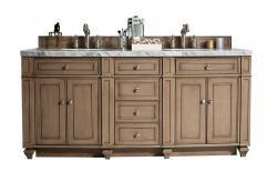 72 Inch Double Sink Bathroom Vanity in White Washed Walnut