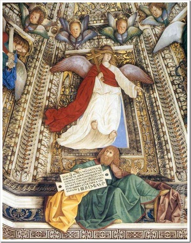 Ангел держит орудия страстей Христовых над пророком Иеремией. После 1484. Купол ризницы Сан-Марко базилики Санта делла Каса. Лорето. Италия